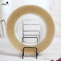 Placa de vidrio sagrado Venta al por mayor barato de oro bordeado bordeado claro placas de cargador de cristal para eventos de boda y cocina