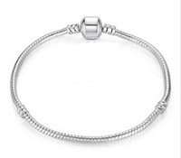 Spedizione gratuita dimensioni 17-21 cm 925 placcato argento braccialetto catena del serpente con barile catenaccio fai da te perline fit pandora logo braccialetto gioielli pulseras