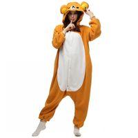 Ну сделал 2016 Новый флис Rilakkuma медведь Кигу пижамы Аниме косплей костюм унисекс взрослых Onesie пижамы мультфильм медведь комбинезон бесплатно
