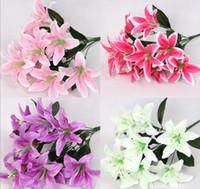 5 Букеты 10 глав Искусственное Handmade цветок лилии или Свадебный букет невесты Главная украшения