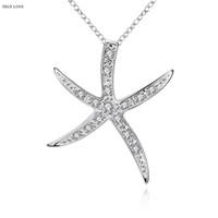 Heiße Starfish-hängende Halskette Zircon 925 Sterlingsilberart und weiseschmucksachen-Frau schönes Geburtstagsgeschenk-Spitzenqualität freies Verschiffen