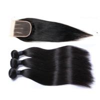 Brasilianisches Reines Haar gewebt gerade mit einem Spitzenverschluss 4 * 4 für einen uneingeordneten mongolischen menschlichen schuss