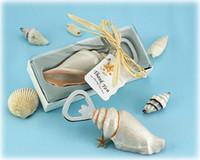 30 pcs mar aberto abridores seashell garrafa abridor de areia verão tema chuveiro casamento favores presente na caixa de presente