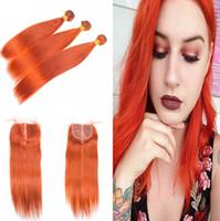 신제품 Silky Straight Hair Weft Bundles with Lace Closure 4x4 오렌지색 인간의 머리카락은 최고 마감 4 개짜리로 엮어 낸다.