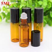 En gros 1000pcs 5 ml 1 / 6oz rouleau sur des bouteilles de parfum d'ambre bouteilles d'huile essentielle vitrage en métal boule d'aromathérapie bouteilles livraison gratuite