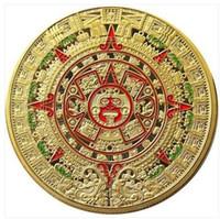 Il calendario maya 2012 del calendario di profezia dell'oro del calendario 1OZ 24K Mayan del 2012 libera il trasporto 5pcs / lot