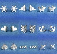 925 Sterling Silber Ohrringe S925 Mix Styles Eule Liebe Fuchs Sonnenblume Stern Muschel Herz Schmetterling Anker Ohrstecker Ohrringe Schmuck für Frauen