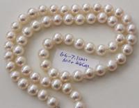 Superbe collier de perles blanches des mers du sud de 6-7mm fermoir en argent de 17.5 pouces