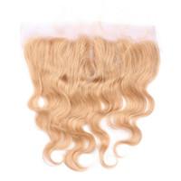 # 27 허니 블론드 레이스 프런트 13 * 4 Pre 뜯어 낸 바디 웨이브 페루 버진 인간의 머리카락 1pc 귀에 귀 레이스 정면 폐쇄