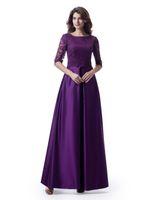 긴 1/2 슬리브 레이스 탑 새틴 스커트 포켓이있는 긴 겸손한 신부 들러리 드레스 국가 스타일 공식 웨딩 파티 드레스 우아한
