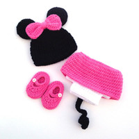 Adorable Recién Nacidos Cartoon Ratón Equipo Hecho a mano Knit Crochet Bebé Cartoon Ratón Beanie Hat Vestido Zapatos Set Infantil Halloween Photo Prop
