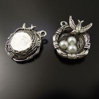 10PCS / Lot العتيقة الفضة الطيور عش قلادة سبائك سحر مجوهرات العثور 24 * 23 * 6MM AU37288 صنع المجوهرات