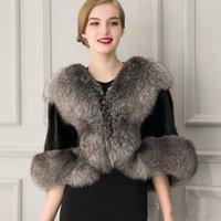 Petite Bayanlar Kadınlar Fuax Kürk Şal Örgün Düğün Gelin Capes Kış Sıcak Wrap Dış Giyim Siyah Kısa Ceket