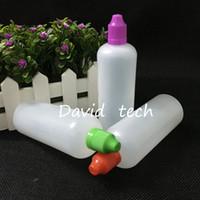 Yüksek kaliteli PE, çocukların açamayacağı sıvı şişeleri fabrika toptan e 120 mi ince uzun damlalık ucu ile sıvı şişe e