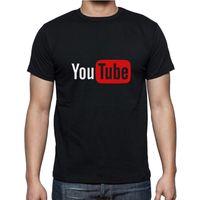 Оптовая продажа-Новый 2016 YouTube логотип печати Марка топы хлопок с коротким рукавом летние футболки повседневная пользовательские хип-хоп мужчины тройник 10 цвет XS-2XL