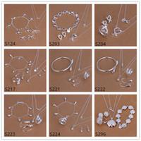 الفضة الاسترليني مجموعات المجوهرات الساخنة بيع المرأة 6 مجموعات من EMS61 الكثير نمط مختلط، أزياء 925 الفضة قلادة سوار حلقة القرط مجموعة مجوهرات