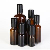 5 ml / 10ml / 15ml / 20ml / 30ml / 50ml / 100ml frascos de vidro âmbar com rolo de Vidro / inox + Lid Preto, Roll-on Garrafas Essencial Perfumes Óleo Desodorante