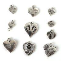 Trasporto libero nuovo 117pcs misto argento tibetano placcato cuore amore pendente fascino dichiarazione gioielli rendendo fai da te gioielli fatti a mano lotti della miscela fai da te