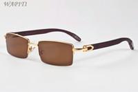 Madeira Óculos de sol para mulheres Moda Polairzed madeira Óculos UV400 óculos de sol Semi homem sem aro dos óculos de sol vêm com caso caixas