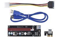 كابل موسع PCI-Express X1 إلى X16 مع مزود طاقة كبير 4Pin و USB 60 سم | PCIe 1X إلى 16x Riser Card Adapter | لاستخراج البيتكوين