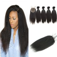 Indian Virgin Hair With Closure 4PCS Indian kinky Straight H...