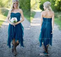 2021 Elegante chiffon increspature Teal Country Wedding damigella d'onore Lace Top Alto Basso partito brevi Bridesmaids Dresses