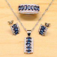 Natural Blue Cubic Zirconia White CZ Jewelry Set Women 925 S...