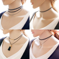Vintage Necklace Multi-Layer Sexy Black Leather Chokers Colliers Bijoux Long Tassel Pendentifs réglables Colliers Black Chokers