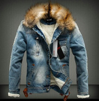 Осень и зима приток мужчин повседневная джинсовая куртка зима толстая джинсовая куртка ретро куртка Nagymaros воротник кашемировое пальто