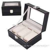 3Grids / слоты искусственная кожа МДФ прочная доска с подушкой часы коробки Оптовая сетка часы дисплей box ящик для хранения часы case 3 rangement bijoux