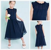 Koyu Donanma Genç Nedime Elbiseleri Ucuz Sütun Jewel Kolsuz A-Line Ruffles Fermuar Geri Çiçek Kız Elbise Düğün için
