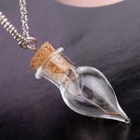 Colliers de pendentif en bouteille en verre mignon à la main avec chaîne pour femmes hommes amoureux fête club chanceux bijoux