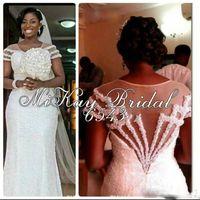 Luxury Beach Lace Mermaid Wedding Dresses 2016 Sleeveless Backless Sweep Train Tulle Applique Wedding Gowns Vestido De Noiva