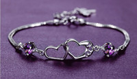 Heart Connected Purple Crystal Bracelet 925 Sterling Silver ...
