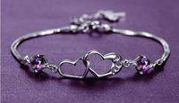 Herz verbunden lila Kristall Armband 925 Sterling Silber weiblichen Armband