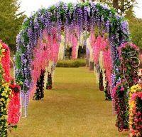 Envío gratis flores de hiedra artificial flor de seda Wisteria vine flor de ratán para bodas Centros de decoración Decoraciones Bouquet Guirnalda casa Ornam
