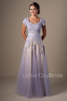 Beaded Lavender Lace Tulle Long Modest Prom Dresses With Cap...