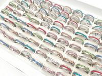 Hot 20 unids / pack surtido 6 mm de una sola fila de cristal lleno de acero inoxidable anillo de la joyería para hombres para mujer anillos de compromiso de boda