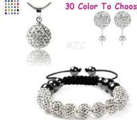 New Style!10mm white cheap Hot clay disco ball Beads Bangles hotslae Crystal Shamballa Bracelet earring necklace set women jewelry Gwq