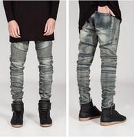 Новый бренд мода 2018 Мужские узкие джинсы мужчины ВПП проблемные тонкий эластичные джинсы джинсовые байкер джинсы хип-хоп брюки промывают черные брюки