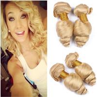 """Бразильская блондинка человеческих волос утки расширения 3шт рыхлой волны волнистые # 613 отбеливатель блондинка девственные пучки человеческих волос сделок 10-30 """" клубок бесплатно"""