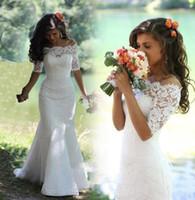 Günstige Mermaid Brautkleider Bateau Neck Halbarm Sweep Zug Brautkleider Benutzerdefinierte Plus Size Wedding Dresss