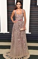 Nina Dobrev Oscar 2016 Elie Saab Celebridade Vestidos Elegantes Praça de Lantejoulas 3d Applique Aberto de Volta Vestidos de Noite com Beading Formal Wear