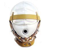 الأبيض عبودية هود الحرمان جلدية كمامة قناع لسماع ضبط النفس المحصنة تصميم جديد bdsm جير الأعرج مبطن الأشرطة قابلة B0306029
