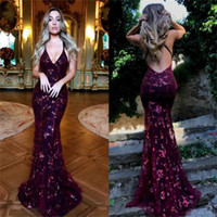 2018 Charming Unique Design Mermaid Grape Sequin Prom Dresse...