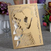 Dark Gold Laser Cut Bride and Groom Wedding Invitations Card...