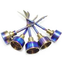 5 Unids Unique Rainbow Domeless titanio nail 18mm Carb Cap VS Clavos de Cerámica de Uñas de Cuarzo Carb Cap para Bongs de Vidrio Tubería de Agua
