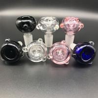 Por atacado macho 14mm 18mm tigelas de vidro para bongos claros cor-de-rosa preta azul bongo bong big bucha para tubos de água Bongs de vidro Dab Rigs