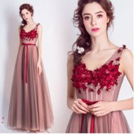 SSYFashion 2017 New Wine Red Lace Flower Evening Dresses The...