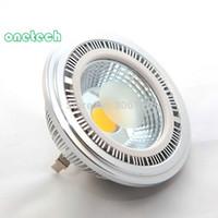 Nouvelle arrivée 15W COB G53 AR111 led spotlight 15W QR111 LED encastré lampe led ampoule, DC12V / AC85-25V 20pcs / lot Livraison gratuite